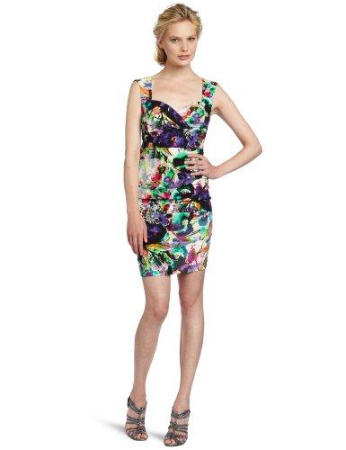 Nicole Miller Women's V-Neck Dress, Multi, 8