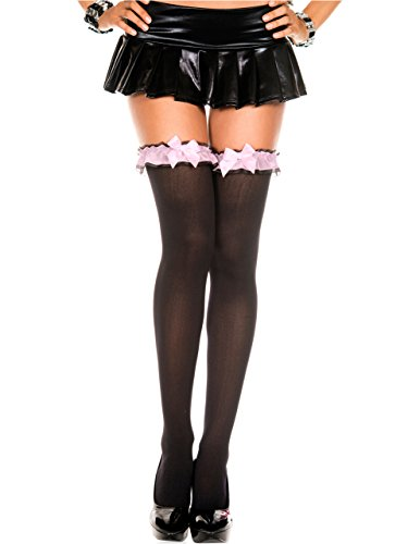 Black Thigh High w/ Pink Ruffle with Bow Attached