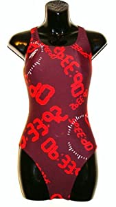 "Speedo Stop Watch Powerback Swimsuit - Dark Red 40"" UK"