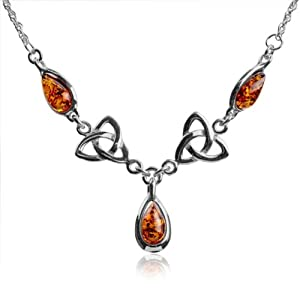 "Certified Genuine Honey Amber and Sterling Silver Celtic Love Knot Classic Necklace 18"" from Ian and Valeri Co."