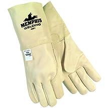 MCR Safety 4901XL Premium Grain Cowhide Leather Mig/Tig Welder Men's Gloves with 4-1/2-Inch Brown Hemmed Cuff, Cream, X-Large, 1-Pair