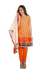 Parchayee Women's Orange Printed Cotton Dress Material