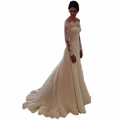 Arrowder vintage long sleeves beteau lace mermaid wedding for Us size wedding dresses
