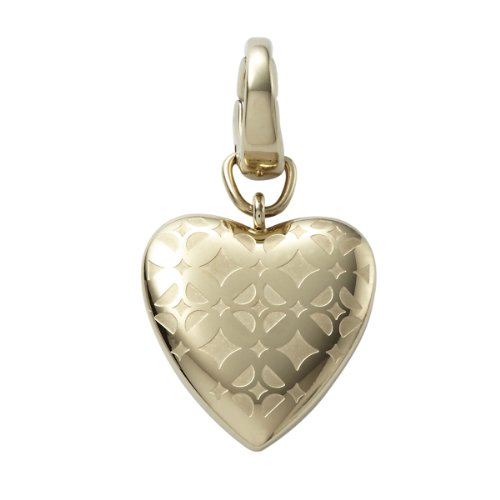 Fossil Damen-Charm Anhänger Herz Edelstahl IP gold Zirkonia JF00084710