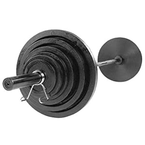 USA Sports Olympic Black Weight Set with Black Bar - 300 Pounds (Color: BOSS300B, Tamaño: 300 pounds)