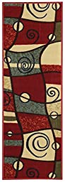 Custom Size Runner Multicolor Red Abstract Geometric Shapes Non-Slip (Non-Skid) Rubber Back Stair Hallway Rug by Feet 22 Inch Wide Select Your Length 22in X 10ft