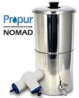 "ProPur Nomad Filtration System + 2 of the Newest Proone-G 2.0 5"" Filter Elements - Raises pH up to 9.5, Removes Chemicals, Fluoride, Sediment"