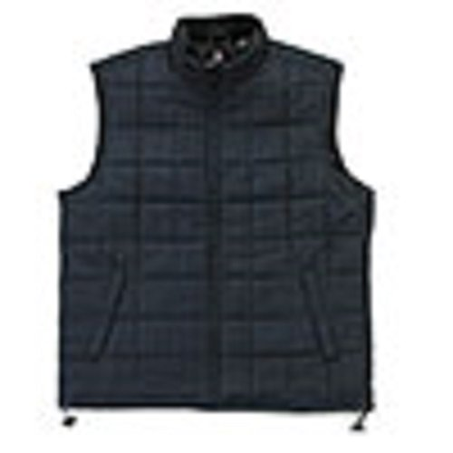 Chaps Plaid Print Microfiber Vest - X-LARGE Navy/Black Plaid
