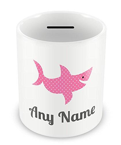 Spardose, personalisierbar mit Namen, Hai, Pink, 5 Stück