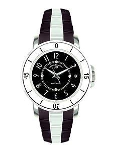 André Belfort 410074 - Reloj analógico de mujer automático con correa de cerámica negra - sumergible a 50 metros