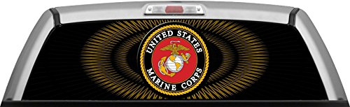USMC - SPIRAL GLASSVIEW - by ITIGD : Truck Rear Window Decal Wrap (Rear Window Graphics Usmc compare prices)