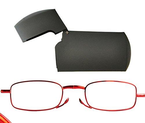 Gafas Plegables de Lectura de Mujer Compactos con Estuche Flip Top (+2.5, Rojo)