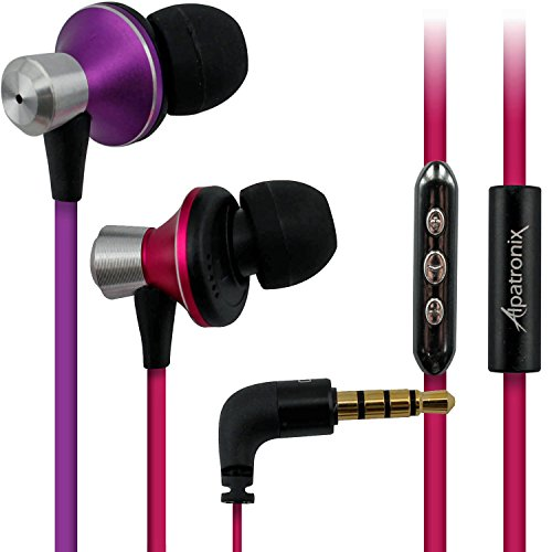 Alpatronix Ex100 In-Ear Headphones With Mic/Control For Android Smartphones (Pink/Purple)