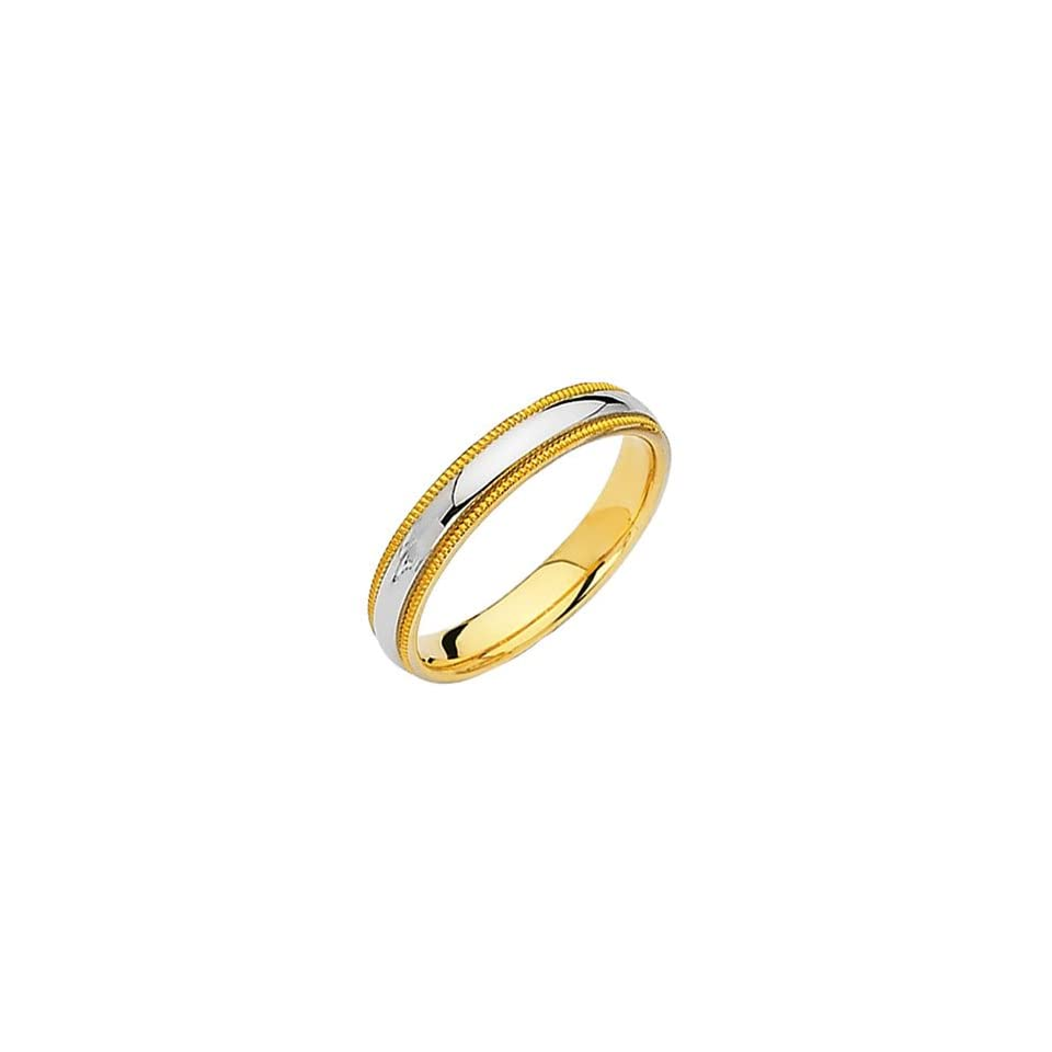 14K Yellow and White 2 Two Tone Gold 3.8mm Milgrain Wedding Band Ring for Men & Women   size 10.5