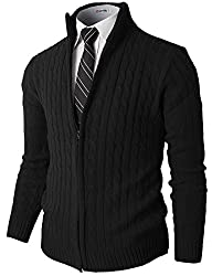 H2H Mens Slim Fit Full-zip Kintted Cardigan Sweaters with Twist Patterned BLACK US S/Asia M (KMOCAL032)