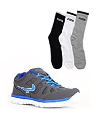 Elligator Gray Stylish Sport Shoes With Puma Socks For Men's