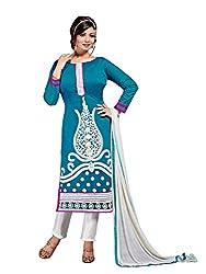 Subhash Sarees Daily Wear Turquoise Color Chanderi Silk Salwar Suit Dress Material