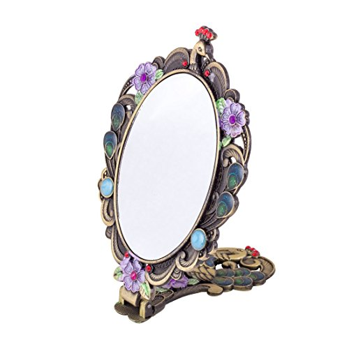 MOIOM Vintage Style Foldable Oval Peacock Pattern Makeup Hand/Table Mirror (Bronze) 3