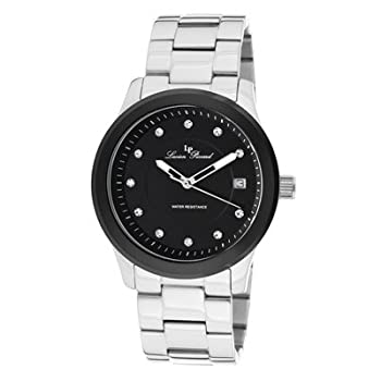 An elegant timepiece dresses up any man's wardrobe. This Lucien Picard watch boasts a bold black dial and bezel with a classic bracelet - a great gift for a man with style and class.