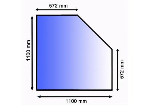 Lienbacher® - 21.02.982.2 - Funkenschutzplatte für Kaminofen - Glasplatte 8 mm (Diamant 1) - mit Facette, klar