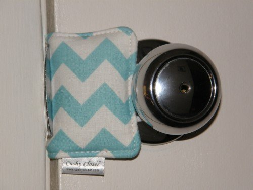 Cushy Closer 100-112 Door Cushion in Aqua and White Chevron