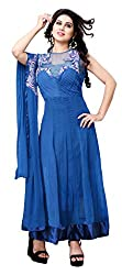 Indian Boutique Blue Color Pure Georgette Top Pure santoon Bottom and inner, with chiffon Dupatta