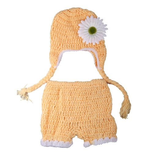 SySrion Cute Baby Infant Sunflower Costume Crochet Knit Photo Prop 0-12 Mon - 1