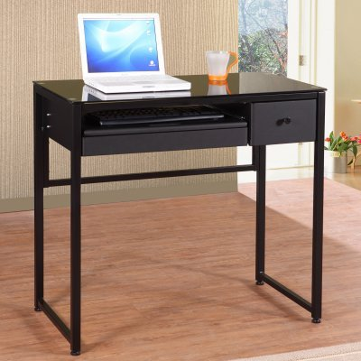 Buy Low Price Comfortable Europa 1 Black Glass Computer Desk with Drawer – 4862 (B004BM77GS)