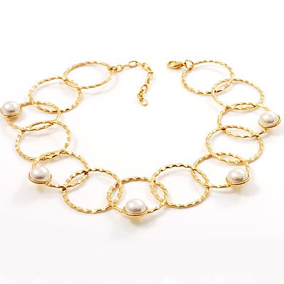 Gold Hammered Circle Pearl Style Choker