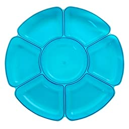 Party Essentials Hard Plastic 16-Inch Round 7-Section Serving Tray, Neon Blue, Single Unit