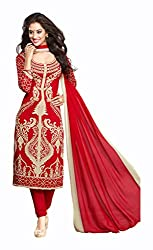 Varsha Women's Chiffon Unstitched Dress Material (Pink)