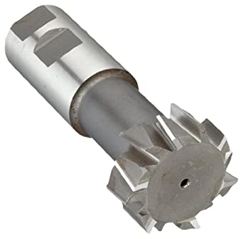 "Niagara Cutter N11020 T-Slot Shank Type Cutter, High Speed Steel, Uncoated (Bright), Weldon Shank, 10 Helix Angle, 1-27/32"" Cutter Diameter, 12 Tooth, 53/64"" Width"