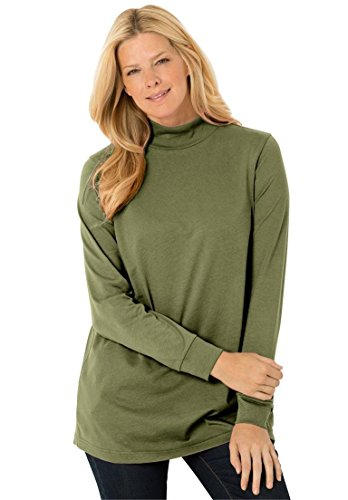Women's Plus Size Top, Perfect Cotton Mockneck With Long Sleeves Green Fern,L