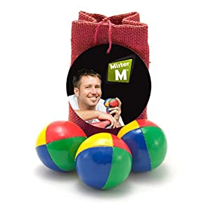 3 balles de jonglage + sac en toile de jute + Vidéo professionnelle d'instructions GRATUITE par MisterM