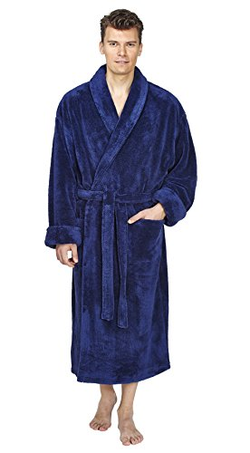 Arus Men's Shawl Fleece Bathrobe Turkish Soft Plush Robe