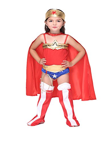 Columbustore Wonder Woman Girls Halloween Costume Kids Hero Dress Up
