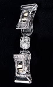 Set of 100, Clear Acrylic Clip-on Sign Holders, Include Ball Joint Knuckle for Tilting and Rotating - Great for Restaurants and Retail Stores
