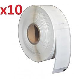 10 x Dymo / Seiko 11356 Rouleaux etiquettes papier blanc (300 Étiquettes par Rouleau)