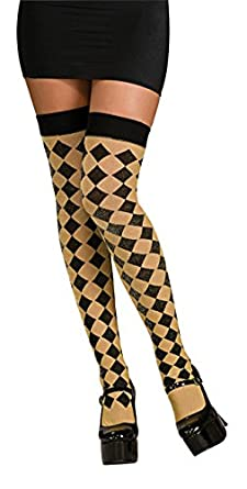 Halloween Womens Harlequin Diamond Shape Thigh-High