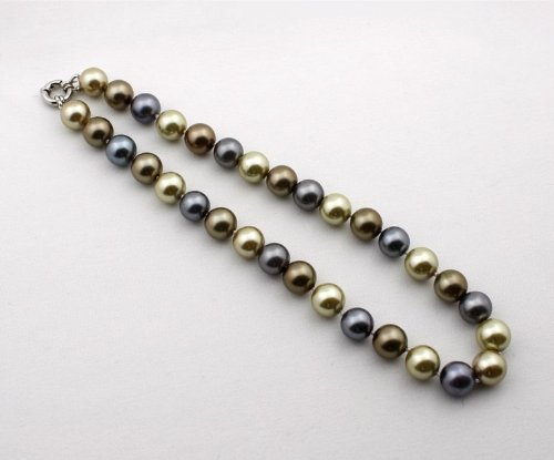 Women's Pearl Strand Necklace 12 mm Brown and Grey Seashell Pearls 17-Inch EE-503A