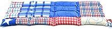 Saco térmico de semillas con tela en estampado de patchwork blanco azul y rojo y aromatizado natural