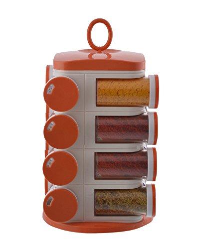Floraware 16 jar spice rack container kitchen set orange for Kitchen set orange