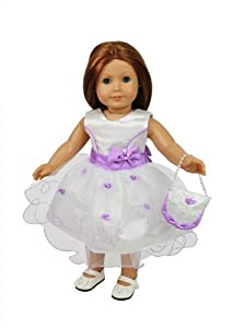 """Doll Clothes for American Girl Dolls: 3 Piece Flower Wedding Day Outfit - """"Dress Along Dolly"""" Doll (Includes Fancy Flower Dress, Beaded Purse, and Dress Shoes)"""