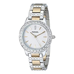Fossil Women's ES2409 Jesse Stainless Steel Three Hand Watch - Silver and Gold Two-Tone