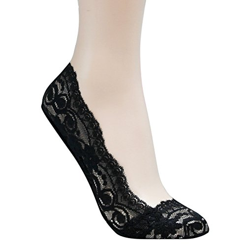 Walkon Womenu0026#39;s 3 Pack Whole Lace Shoe Liner No-show SocksCombo (Black Brown Beige)5-8 ...
