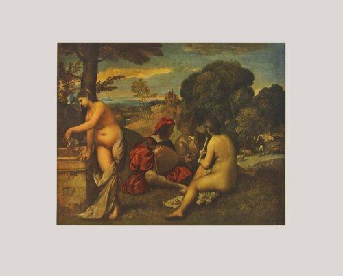 Kunstdruck / Poster Giorgio Giorgione - Ländliches Konzert (Kleinformat) - 51.2 x 41.3cm - Premiumqualität - , Landschaft, Arkadien, Musiker, nackte Frauen, Akte, Landleben, Idylle, Renaissance, Klass.. - MADE IN GERMANY - ART-GALERIE-SHOPde