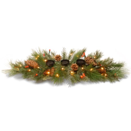 National Tree Dc13-116-30Hb White Pine Centerpiece With Candle Holder And 45 Soft White And Red Led Battery Operated Lights, 30-Inch
