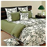 Swayam Printed Cotton Bedsheet With 2 Pillow Covers - King Size, Green