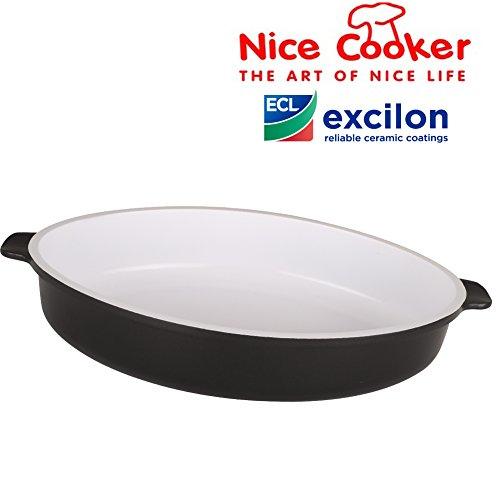 NICE COOKER ®-Teglia da forno in ceramica, 30 x 6,2 x 21, 35 cm x 24 x 6,5 cm., 30 x 21 x 6