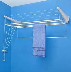 tendoir linge suspendu etend 39 mieux fixer au mur 5 barres largeur 47cm x 1m60 capacit. Black Bedroom Furniture Sets. Home Design Ideas